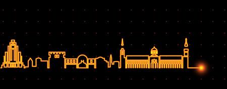 Ligne d'horizon de la ligne de lumière de Damas