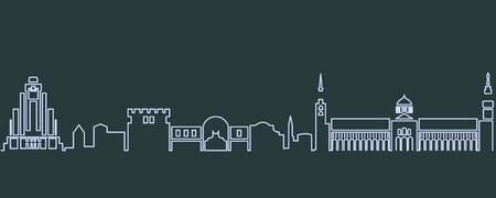 Damascus Single Line Skyline Ilustração