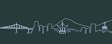 Portland Single Line Skyline 일러스트