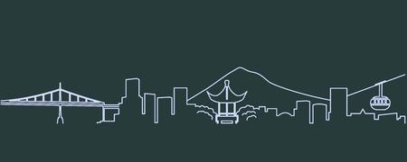 Portland Single Line Skyline Illustration