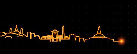 Kathmandu Light Streak Skyline 版權商用圖片 - 126168215
