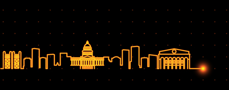 Sacramento Light Streak Skyline Illustration