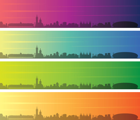 Krakow Multiple Color Gradient Skyline Banner Иллюстрация