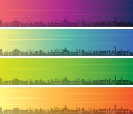 Bengaluru Multiple Color Gradient Skyline Banner Illustration