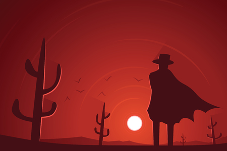 Gunman in the Desert Western Scene Illustration