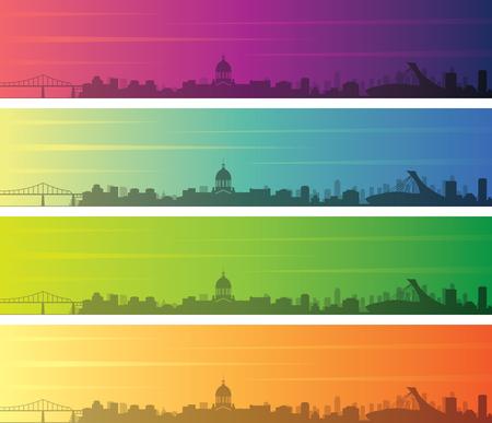 Montreal Multiple Color Gradient Skyline Banner Иллюстрация