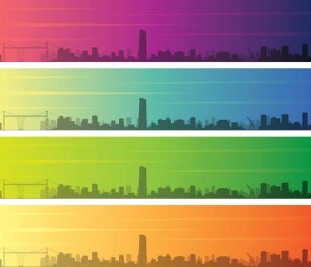 Bilbao Multiple Color Gradient Skyline Banner