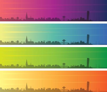 Malmo Multiple Color Gradient Skyline Banner Illustration