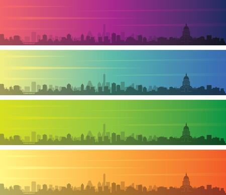 Austin Multiple Color Gradient Skyline Banner