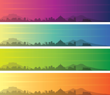 Naples Multiple Color Gradient Skyline Banner Illustration