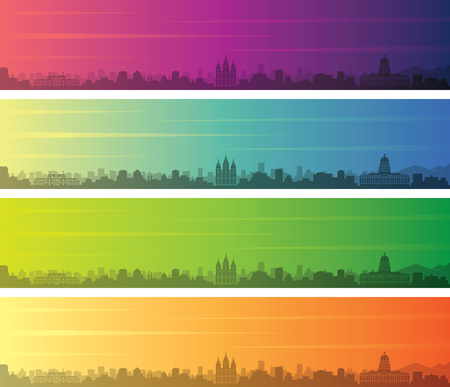 Salt Lake City Multiple Color Gradient Skyline Banner