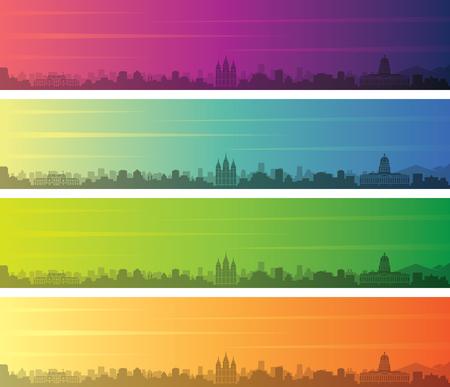 Salt Lake City Multiple Color Gradient Skyline Banner
