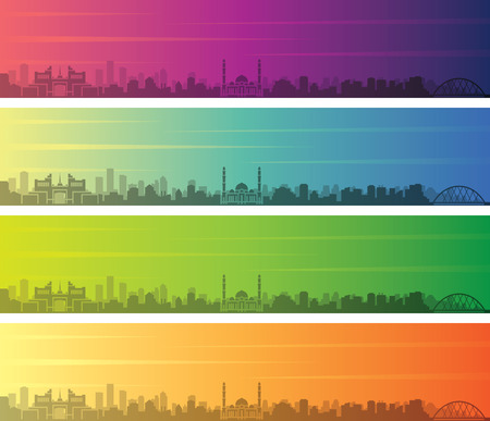 Astana Multiple Color Gradient Skyline Banner 向量圖像