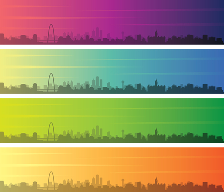 Dallas Multiple Color Gradient Skyline Banner