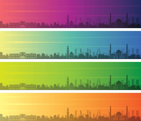 Bahrain Multiple Color Gradient Skyline Banner