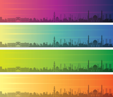 Bahrain Multiple Color Gradient Skyline Banner Illustration