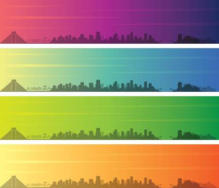 Cancun Multiple Color Gradient Skyline Banner