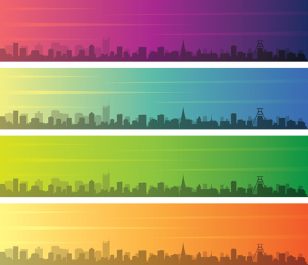 Essen Multiple Color Gradient Skyline Banner