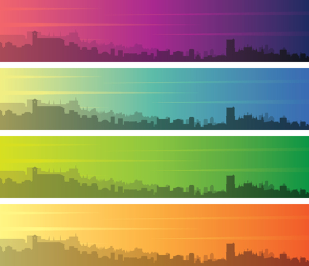 Granada Multiple Color Gradient Skyline Banner