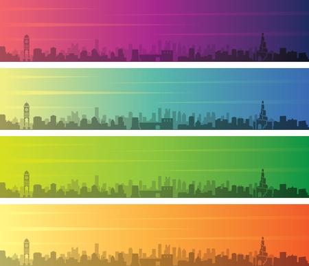 Doha Multiple Color Gradient Skyline Banner