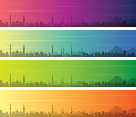 Medina Multiple Color Gradient Skyline Banner Ilustração