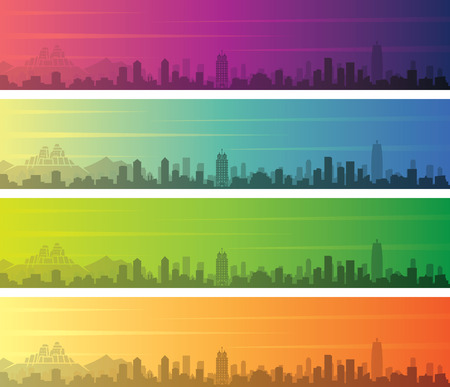 Zhengzhou Multiple Color Gradient Skyline Banner 向量圖像