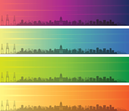 Durban Multiple Color Gradient Skyline Banner