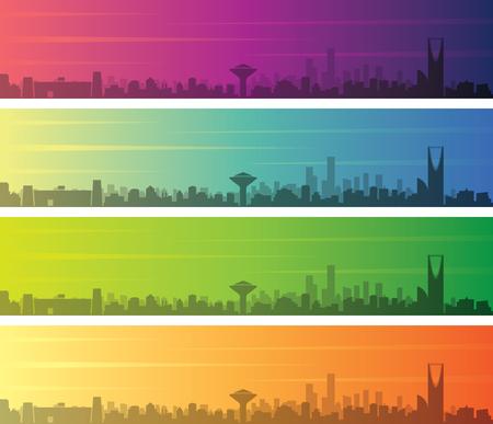 Riyadh Multiple Color Gradient Skyline Banner