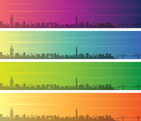 Tunis Multiple Color Gradient Skyline Banner