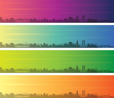 Jacksonville Multiple Color Gradient Skyline Banner