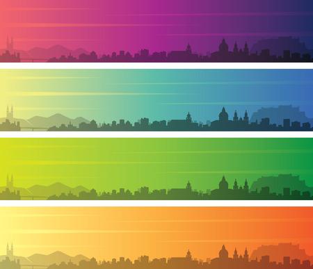 Salzburg Multiple Color Gradient Skyline Banner