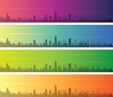 Jinan Multiple Color Gradient Skyline Banner
