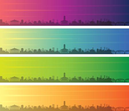 Nashville Multiple Color Gradient Skyline Banner