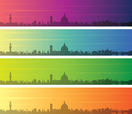 Florence Multiple Color Gradient Skyline Banner