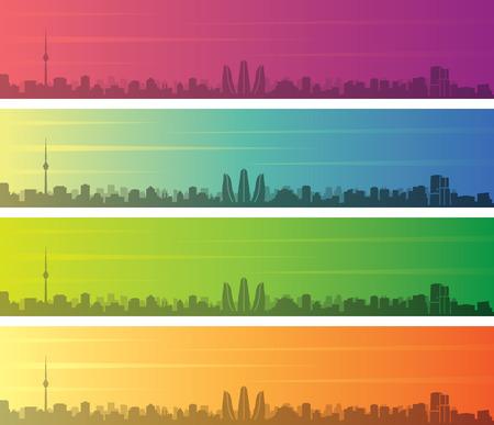 Baku Multiple Color Gradient Skyline Banner