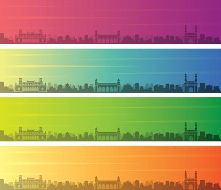 Hyderabad Multiple Color Gradient Skyline Banner