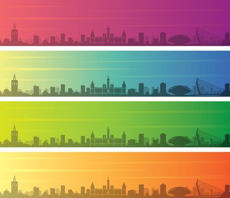 Valencia Multiple Color Gradient Skyline Banner