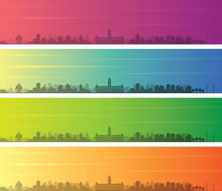 Chennai Multiple Color Gradient Skyline Banner Illustration