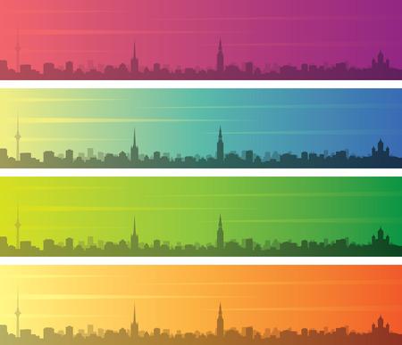 Tallinn Multiple Color Gradient Skyline Banner Vektorgrafik