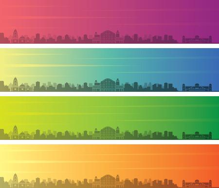 Jaipur Multiple Color Gradient Skyline Banner