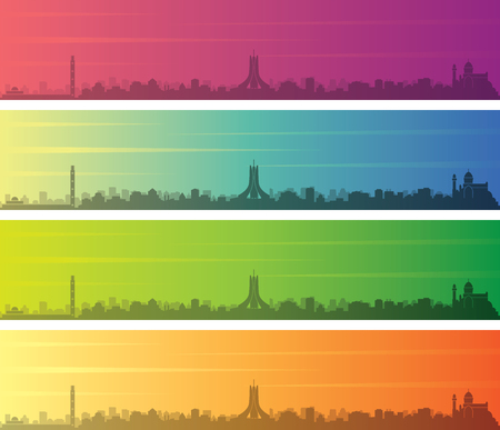Algiers Multiple Color Gradient Skyline Banner 免版税图像 - 120565093