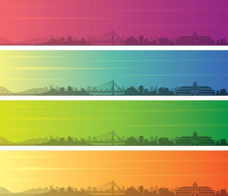 Bandung Multiple Color Gradient Skyline Banner Illustration