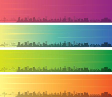 Tampa Multiple Color Gradient Skyline Banner
