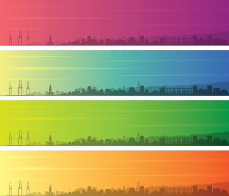 Malaga Multiple Color Gradient Skyline Banner