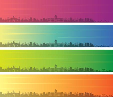 Dhaka Multiple Color Gradient Skyline Banner Çizim