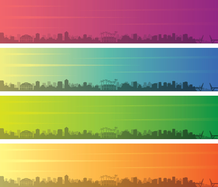 Fort Lauderdale Multiple Color Gradient Skyline Banner