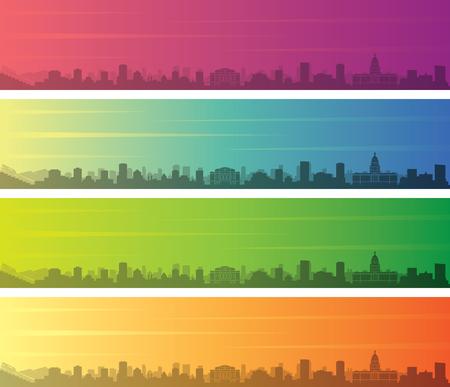 Denver Multiple Color Gradient Skyline Banner  イラスト・ベクター素材