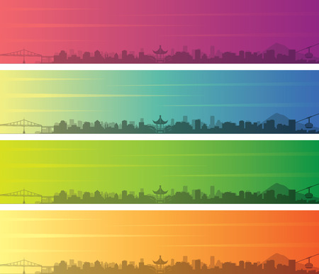Portland Oregon Multiple Color Gradient Skyline Banner