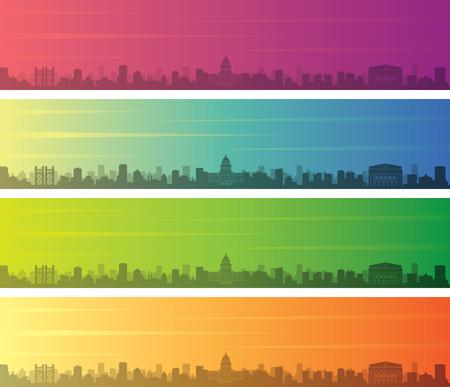 Sacramento Multiple Color Gradient Skyline Banner Illustration