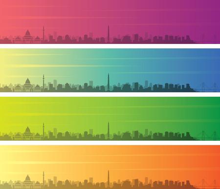Surabaya Multiple Color Gradient Skyline Banner